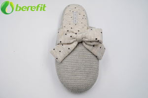Grey Polka Dot Bow Lady Cotton Indoor Slipper