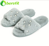 Furry Slides with Pearls Mint Women's House Slippers