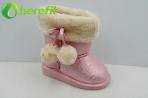 Pink Girls Faux Fur Fashion Snow Boot