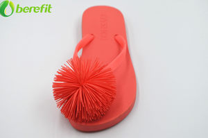 PVC Ladies Anti-slip Red Slipper Flower