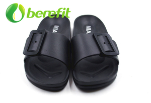 Black Indoor Sandal for Women like Birkenstock Sandal with buckle on the upper