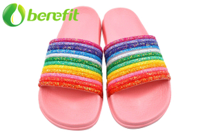 Slippers Women with Glitter Rainbow Upper with EVA Pink Light Sole