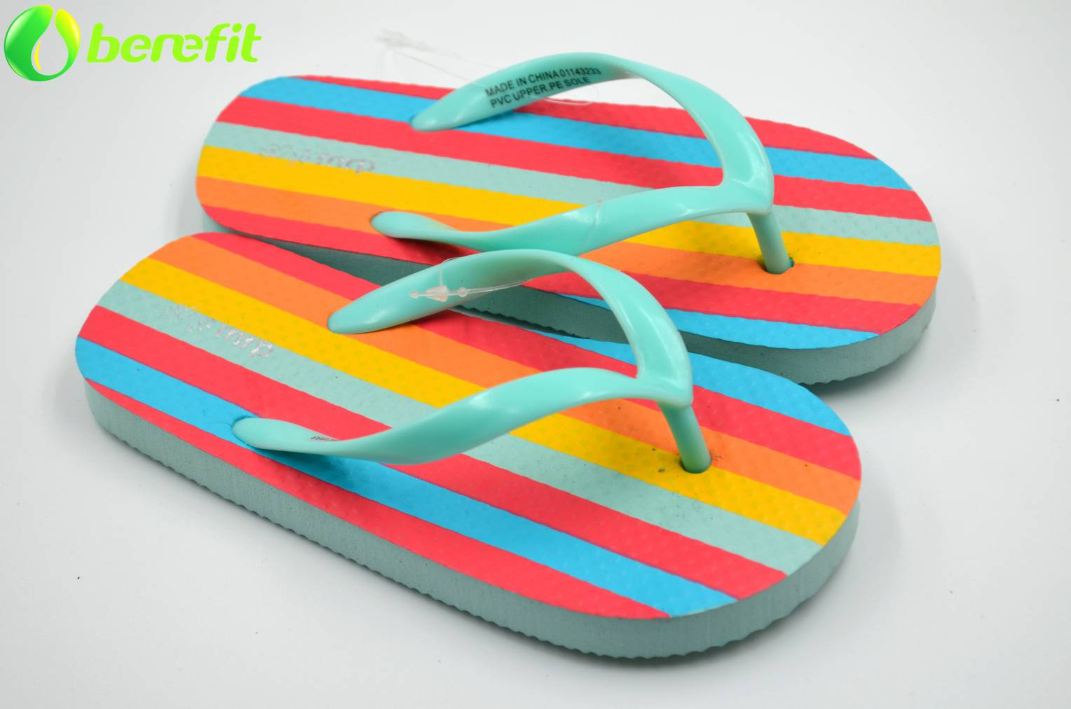 Interesting Lady Coloful Strip Flip Flops Slippers
