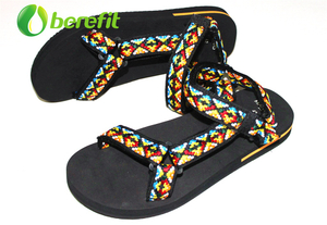 Sandals for Women with Platform EVA Sole And Jacquard Ribbon Upper