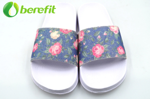 Glitter Flower Comfortable Women's Slide Sandals for Walking