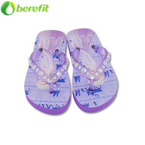 Frozen Girls Purple And Blue Children PE Beads Slipper Thongs