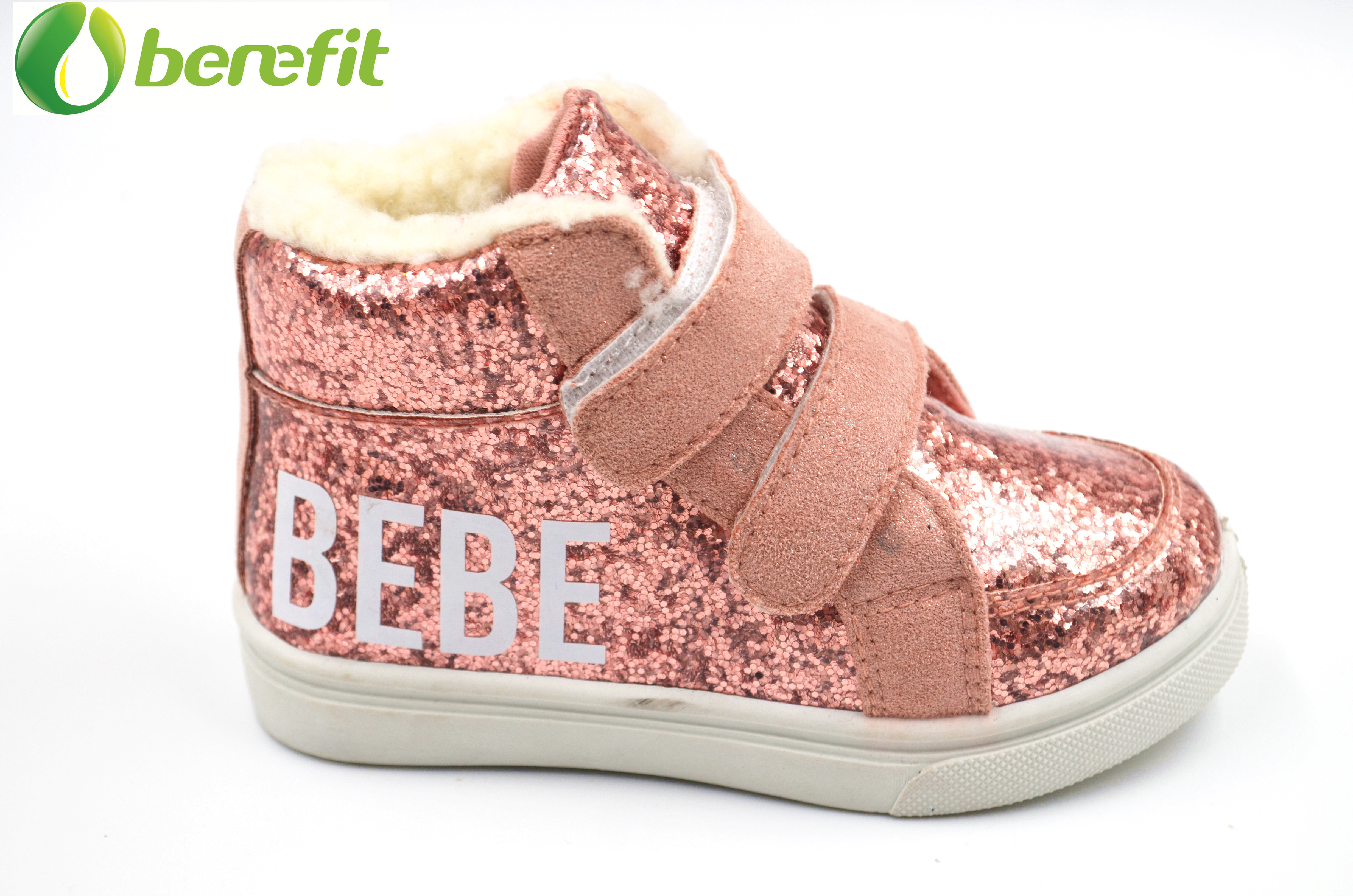 Glitter high-cut winter toddler Shoes with fur inside