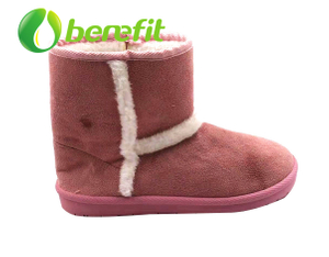 Women Boots And Ankle Boots with Fur Upper And PVC Sole for Winter in Pink And Brown